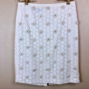 Talbots • Pencil Skirt With Daisy Appliqué